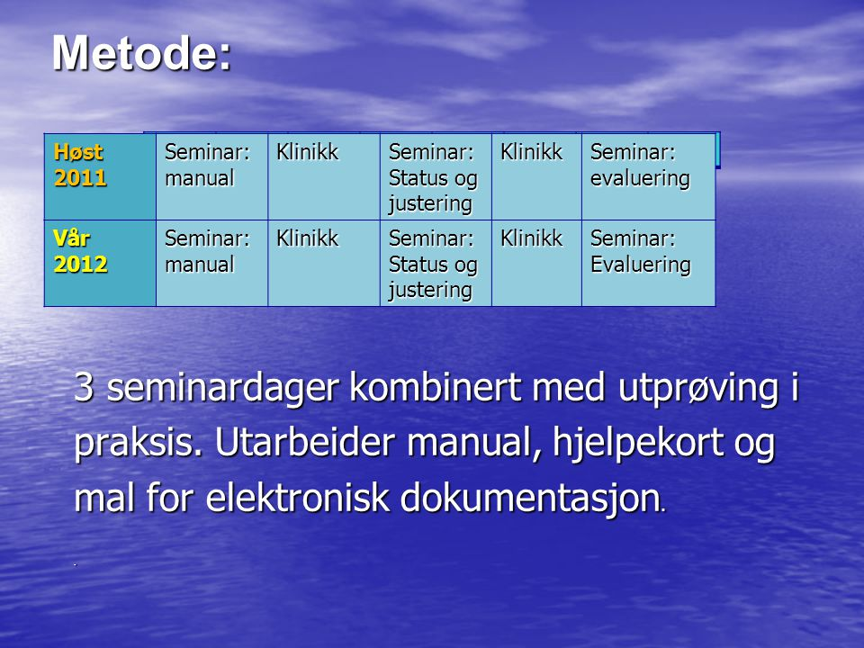 Metode: Høst 2011. Seminar: manual. Klinikk. Status og justering. evaluering. Vår. 2012. Evaluering.