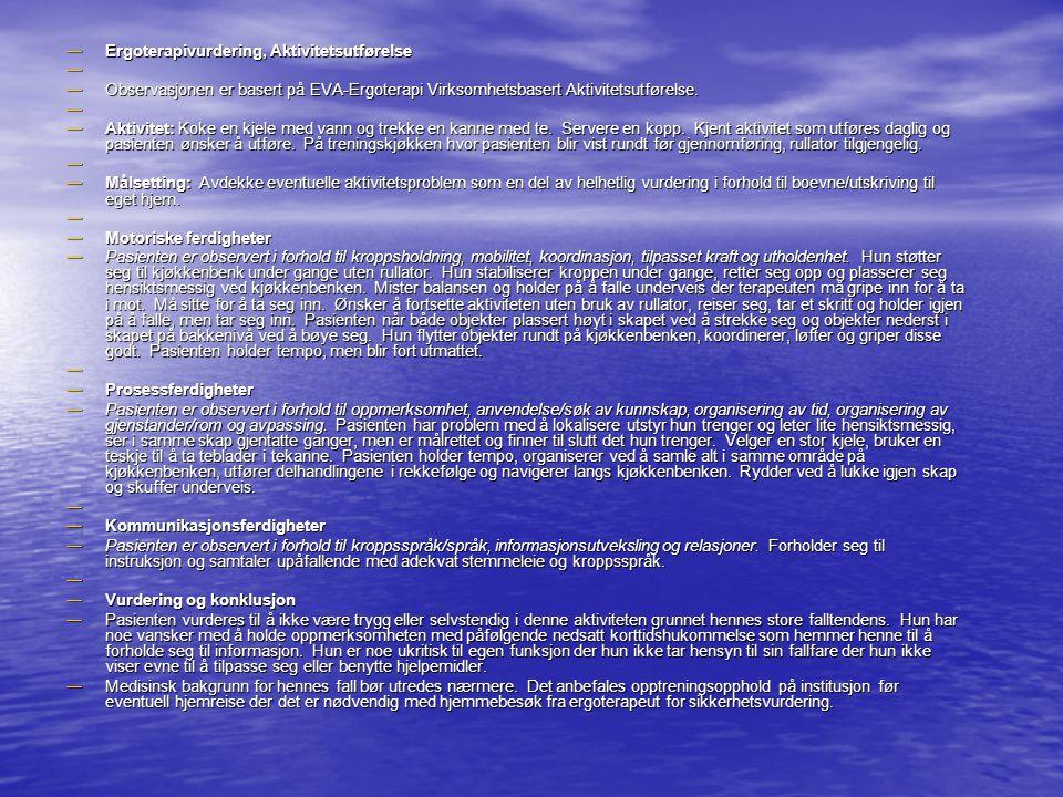 Ergoterapivurdering, Aktivitetsutførelse