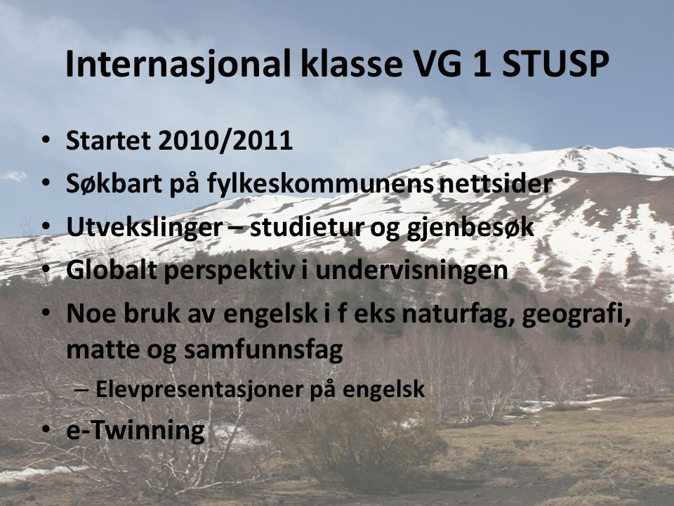 Internasjonal klasse VG 1 STUSP