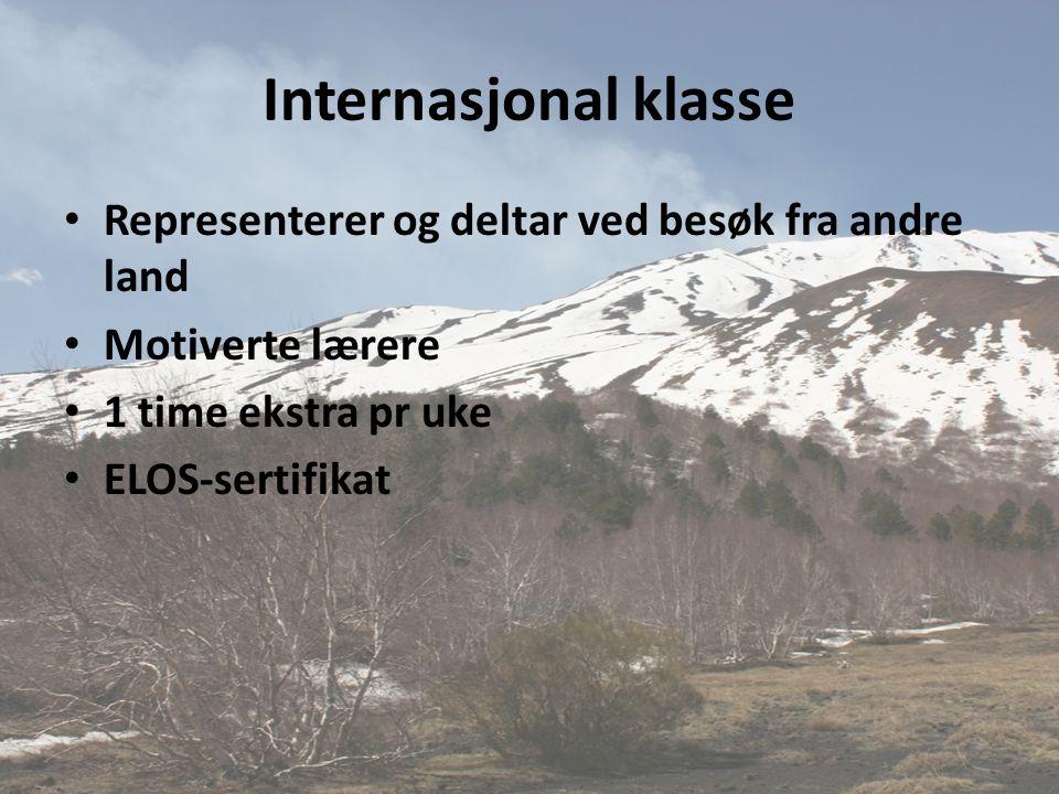 Internasjonal klasse Representerer og deltar ved besøk fra andre land