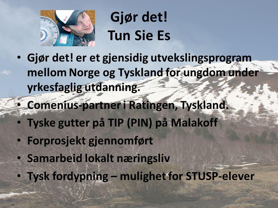Gjør det! Tun Sie Es Gjør det! er et gjensidig utvekslingsprogram mellom Norge og Tyskland for ungdom under yrkesfaglig utdanning.