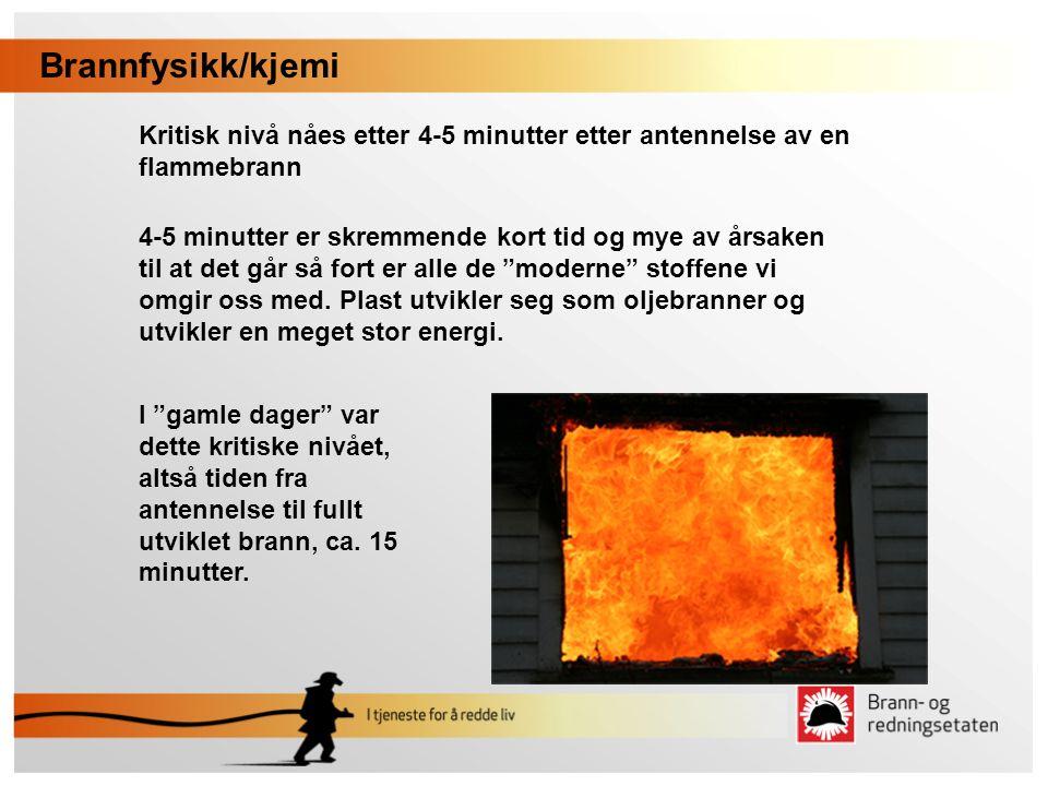 Brannfysikk/kjemi Kritisk nivå nåes etter 4-5 minutter etter antennelse av en flammebrann.