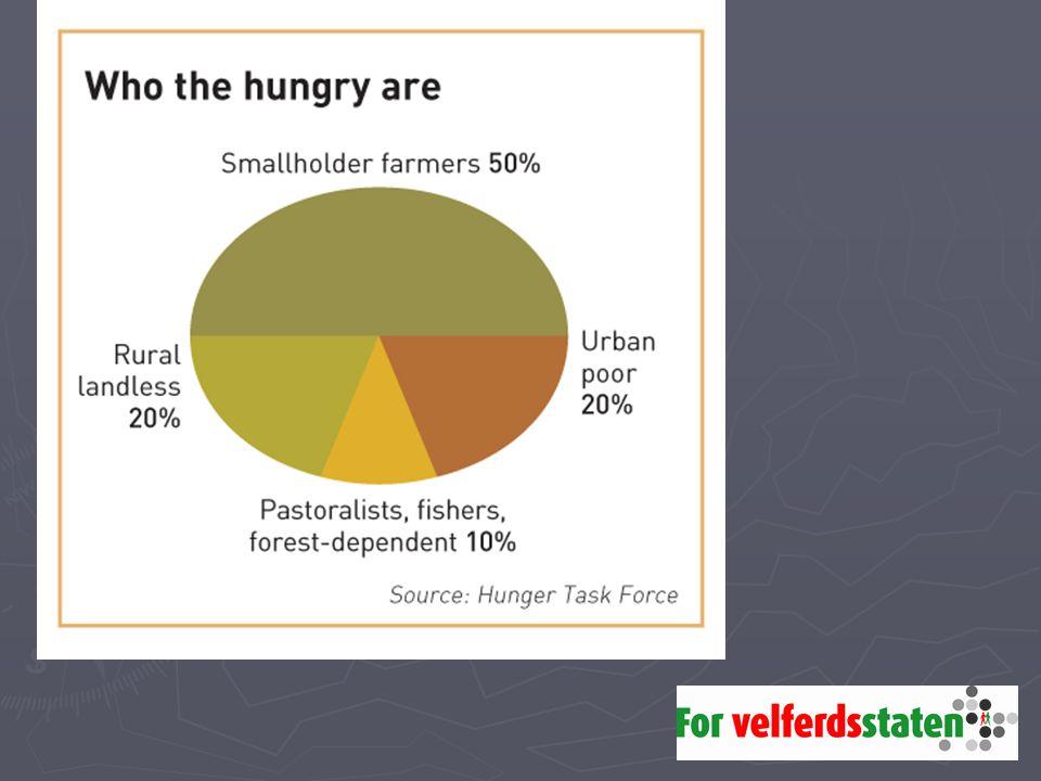 Hoveddelen av de sultne er bønder, matprodusenter