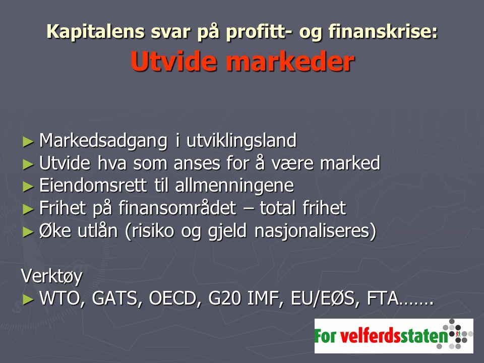 Kapitalens svar på profitt- og finanskrise: Utvide markeder