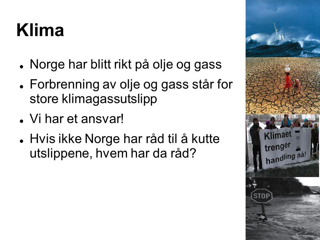 Klima Norge har blitt rikt på olje og gass