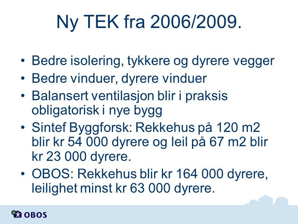 Ny TEK fra 2006/2009. Bedre isolering, tykkere og dyrere vegger