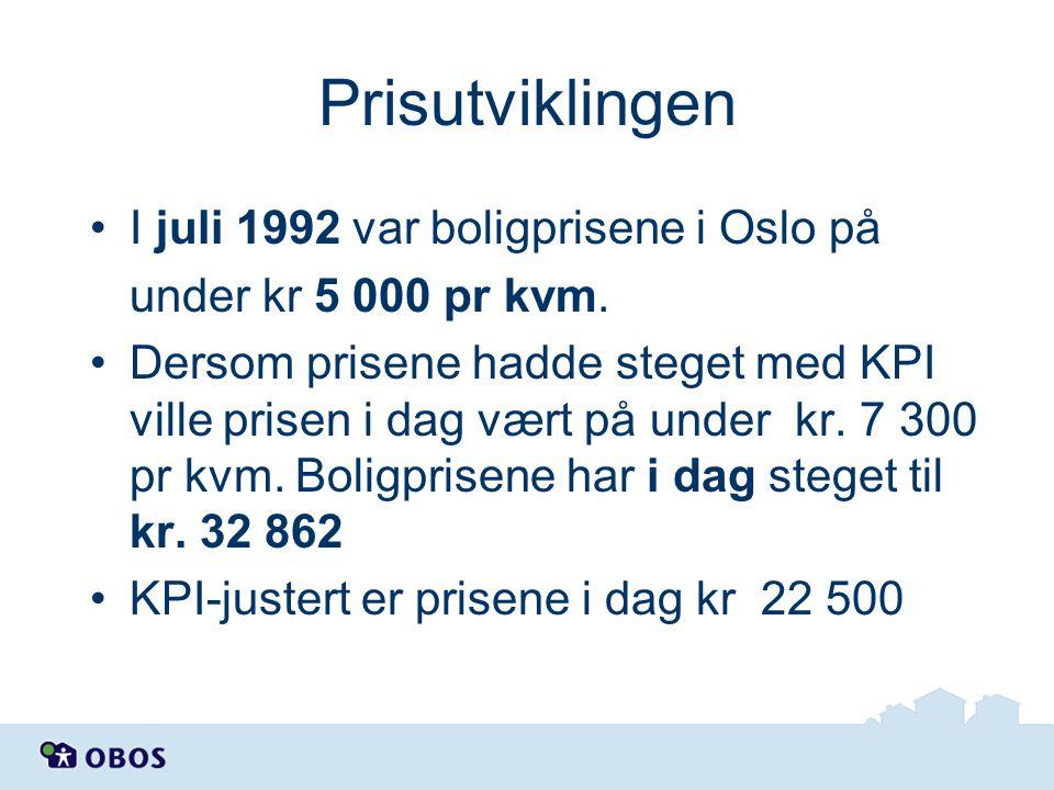 Prisutviklingen I juli 1992 var boligprisene i Oslo på