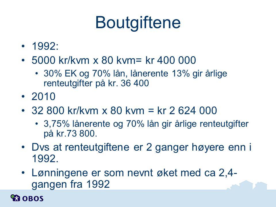 Boutgiftene 1992: 5000 kr/kvm x 80 kvm= kr 400 000 2010