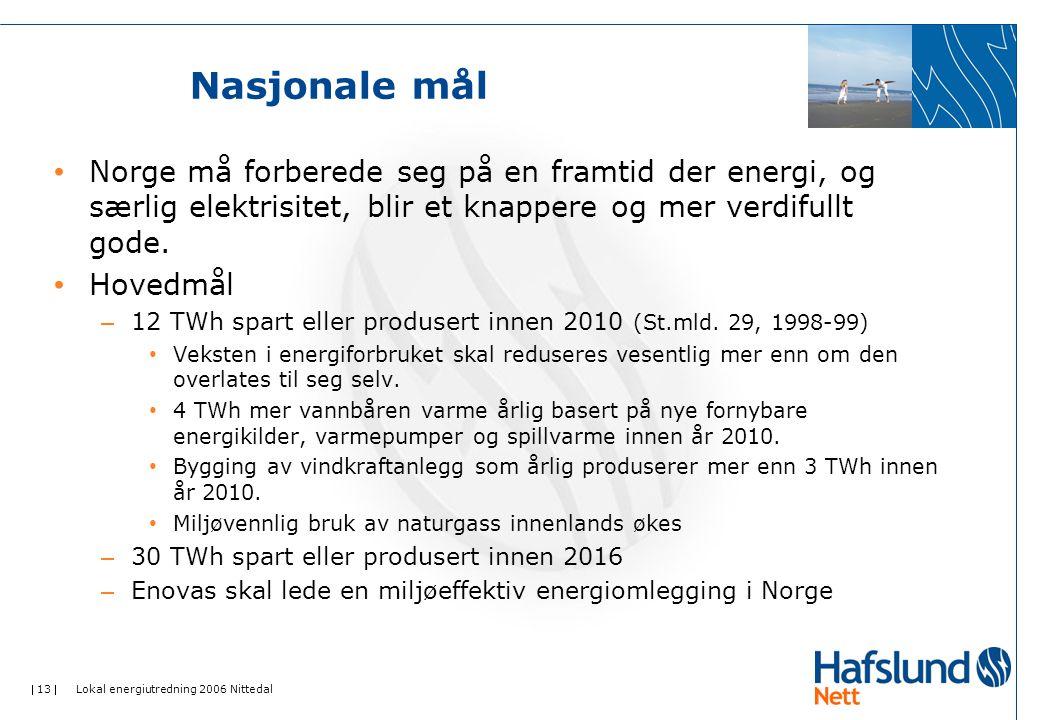 Nasjonale mål Norge må forberede seg på en framtid der energi, og særlig elektrisitet, blir et knappere og mer verdifullt gode.