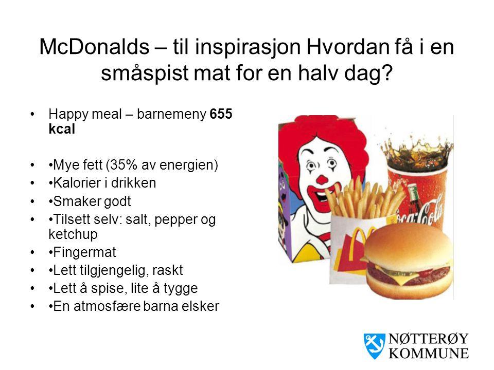 McDonalds – til inspirasjon Hvordan få i en småspist mat for en halv dag