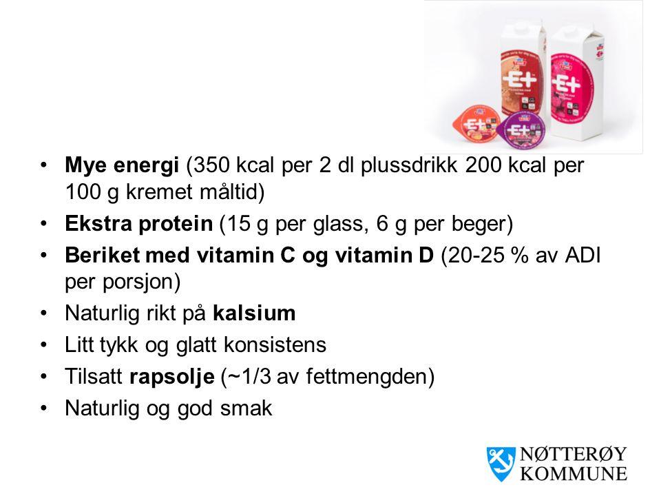 Mye energi (350 kcal per 2 dl plussdrikk 200 kcal per 100 g kremet måltid)