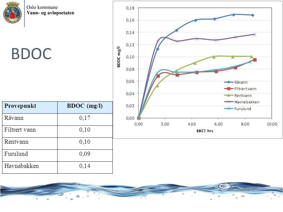 BDOC Prøvepunkt BDOC (mg/l) Råvann 0,17 Filtrert vann 0,10 Rentvann
