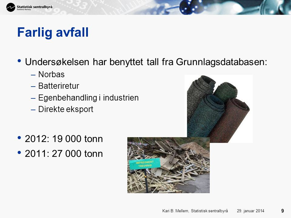 Farlig avfall Undersøkelsen har benyttet tall fra Grunnlagsdatabasen: