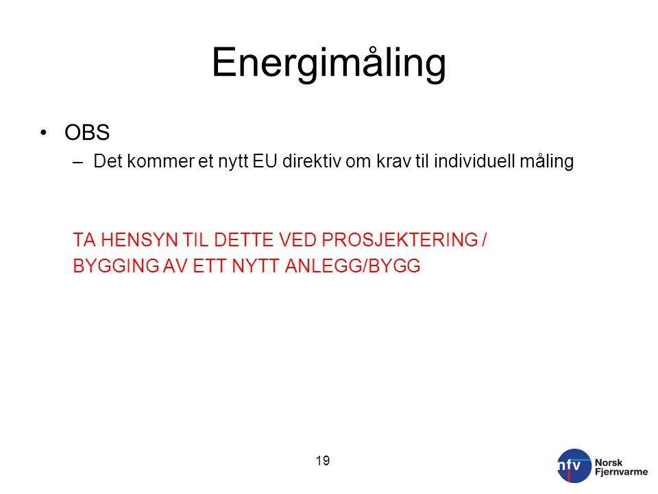 Energimåling OBS. Det kommer et nytt EU direktiv om krav til individuell måling. TA HENSYN TIL DETTE VED PROSJEKTERING /