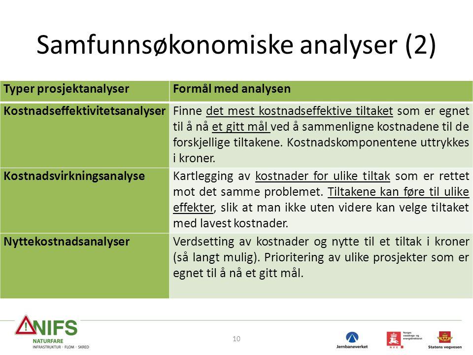 Samfunnsøkonomiske analyser (2)