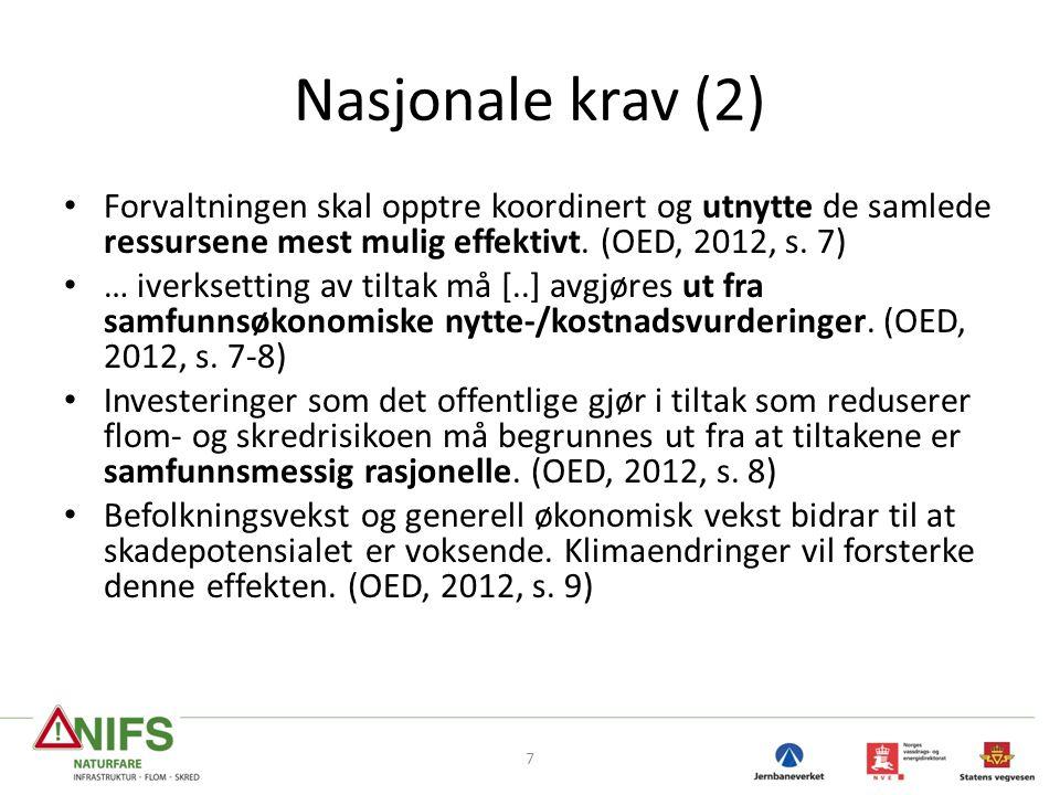 Nasjonale krav (2) Forvaltningen skal opptre koordinert og utnytte de samlede ressursene mest mulig effektivt. (OED, 2012, s. 7)