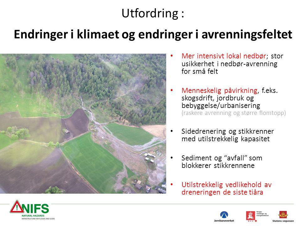 Utfordring : Endringer i klimaet og endringer i avrenningsfeltet