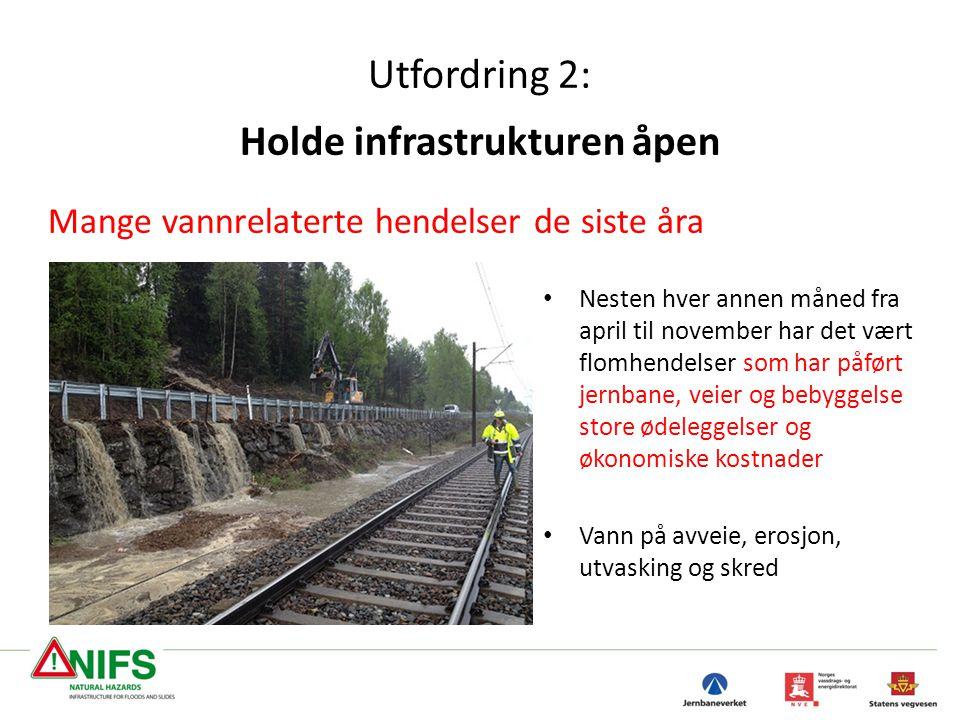 Utfordring 2: Holde infrastrukturen åpen Mange vannrelaterte hendelser de siste åra