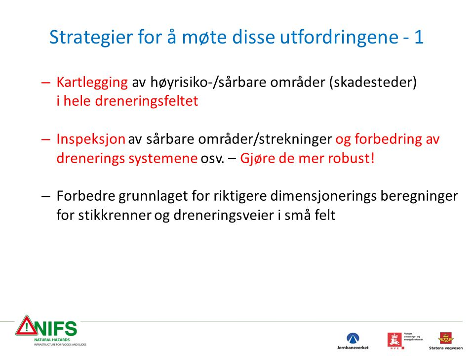 Strategier for å møte disse utfordringene - 1