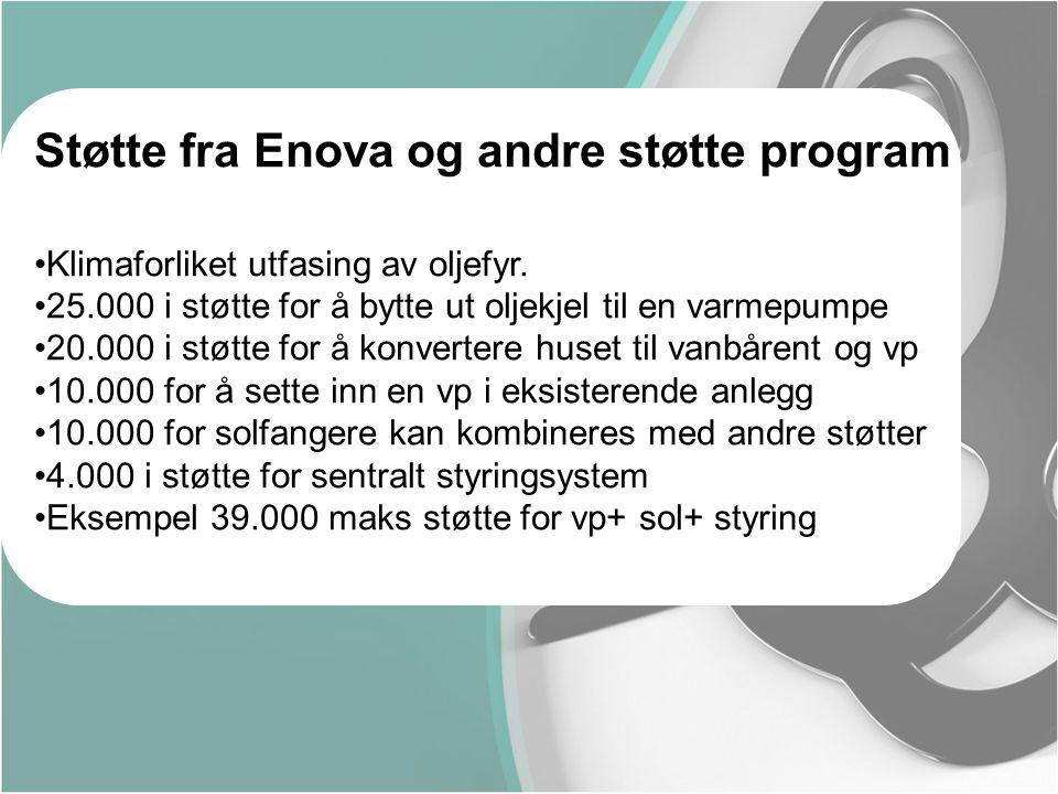Støtte fra Enova og andre støtte program