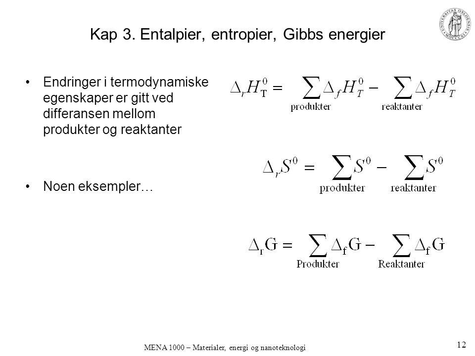 Kap 3. Entalpier, entropier, Gibbs energier