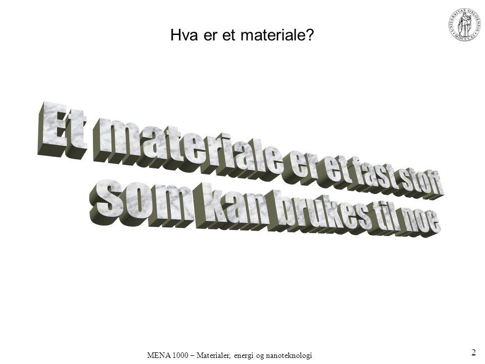 Et materiale er et fast stoff som kan brukes til noe