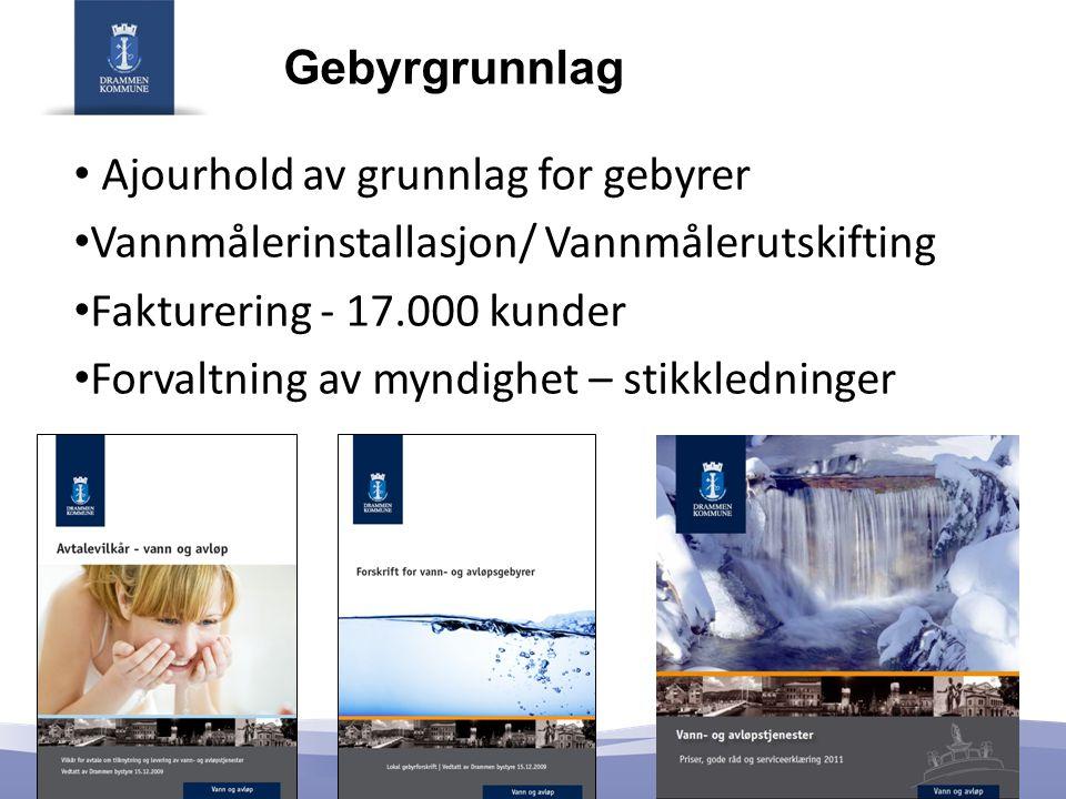 Gebyrgrunnlag Ajourhold av grunnlag for gebyrer. Vannmålerinstallasjon/ Vannmålerutskifting. Fakturering - 17.000 kunder.