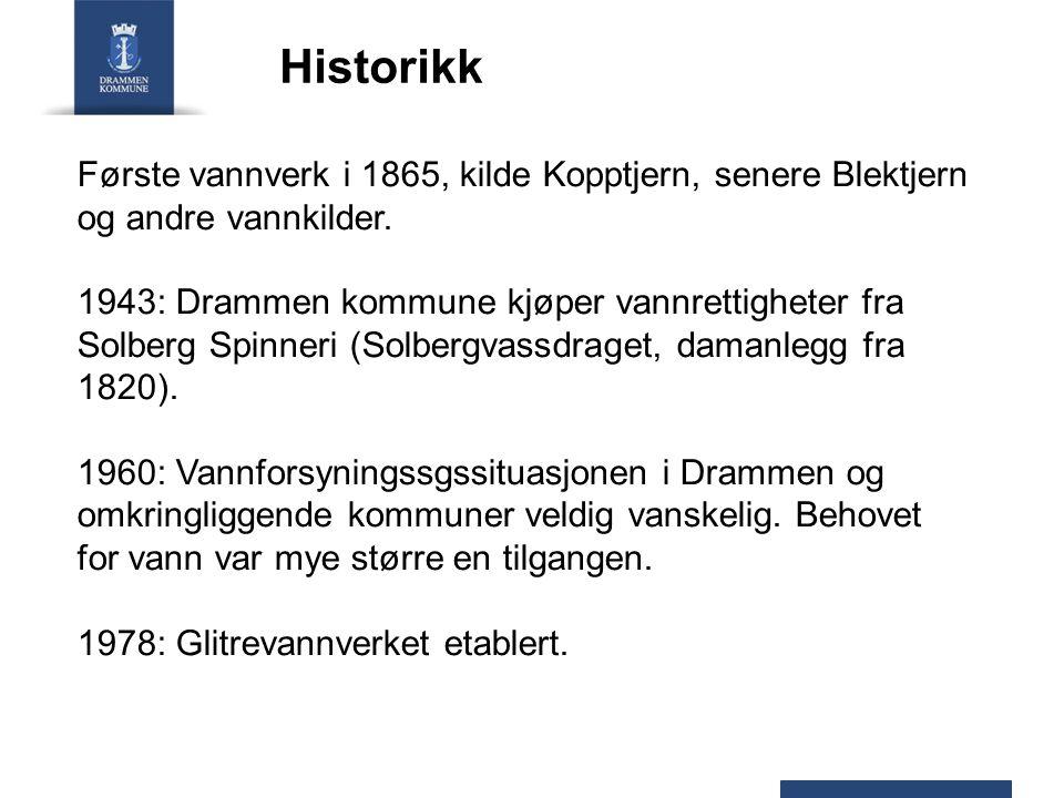Historikk Første vannverk i 1865, kilde Kopptjern, senere Blektjern og andre vannkilder.