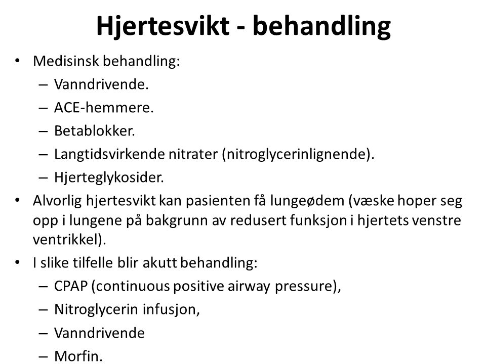 Hjertesvikt - behandling