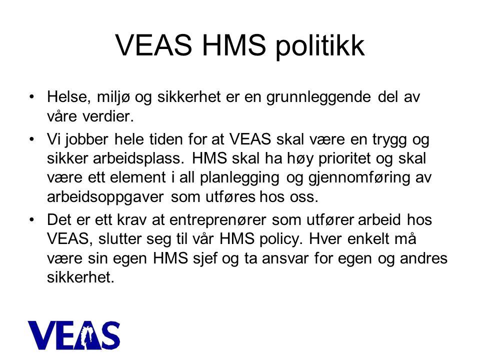 VEAS HMS politikk Helse, miljø og sikkerhet er en grunnleggende del av våre verdier.