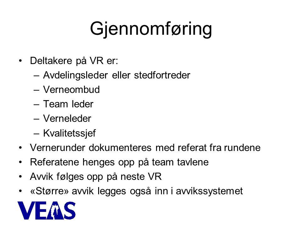 Gjennomføring Deltakere på VR er: Avdelingsleder eller stedfortreder