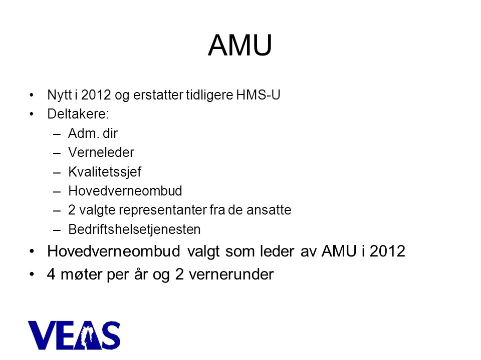AMU Hovedverneombud valgt som leder av AMU i 2012