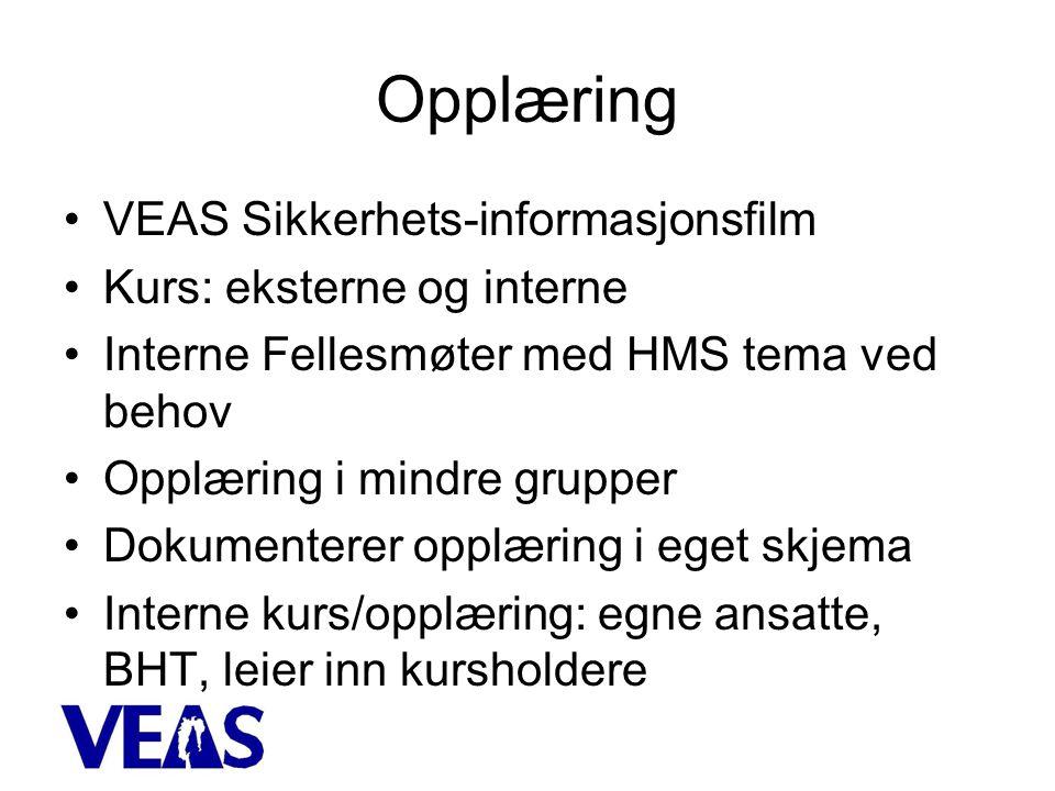 Opplæring VEAS Sikkerhets-informasjonsfilm Kurs: eksterne og interne