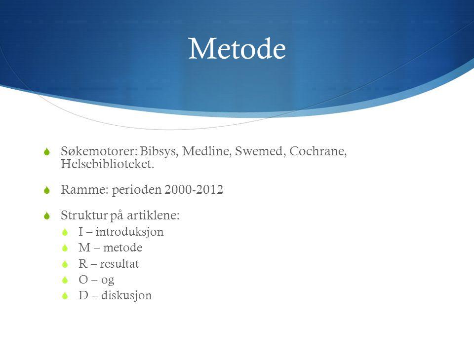 Metode Søkemotorer: Bibsys, Medline, Swemed, Cochrane, Helsebiblioteket. Ramme: perioden 2000-2012.