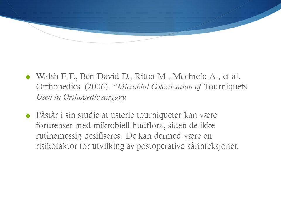 Walsh E. F. , Ben-David D. , Ritter M. , Mechrefe A. , et al