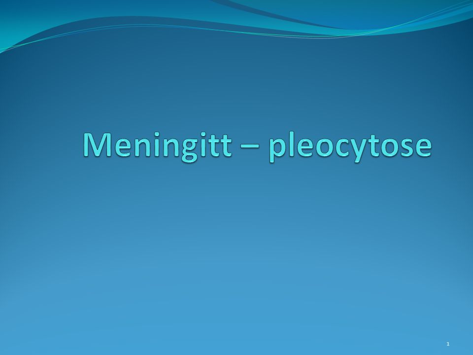 Meningitt – pleocytose
