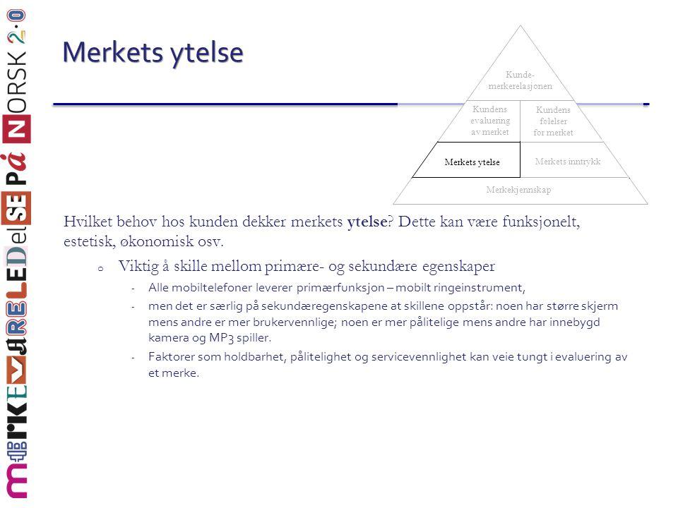 Merkets ytelse Merkekjennskap. Merkets inntrykk. Merkets ytelse. Kundens evaluering av merket. Kundens følelser for merket.