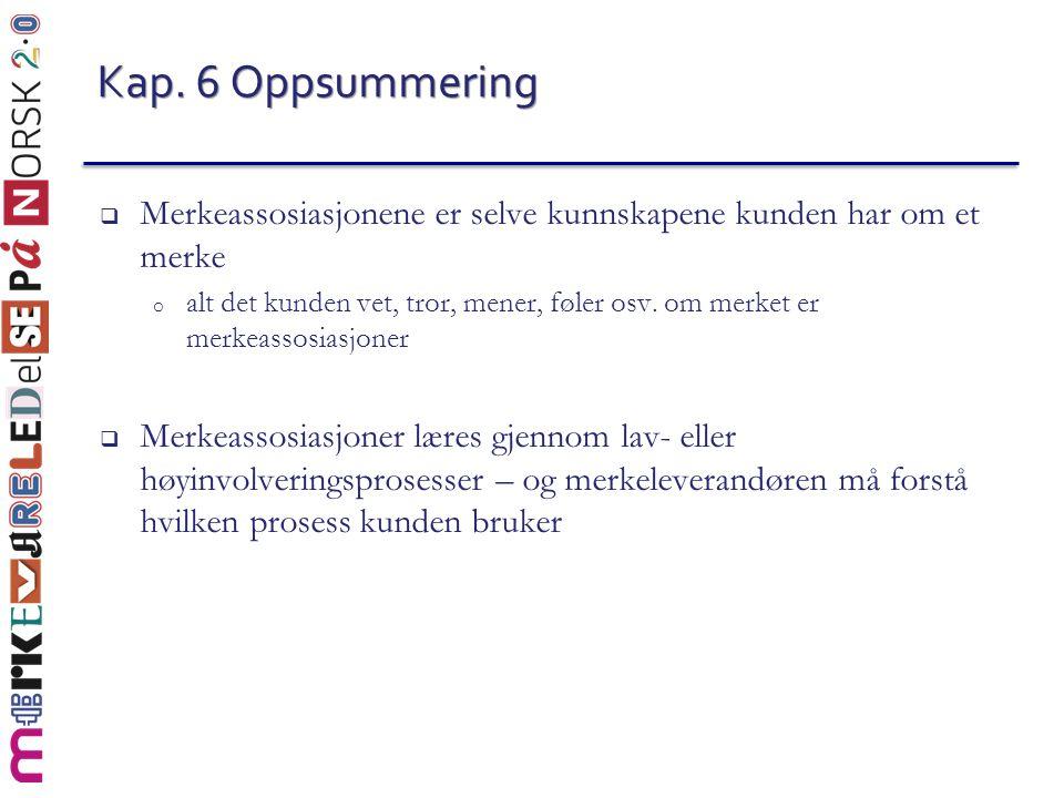 Kap. 6 Oppsummering Merkeassosiasjonene er selve kunnskapene kunden har om et merke.