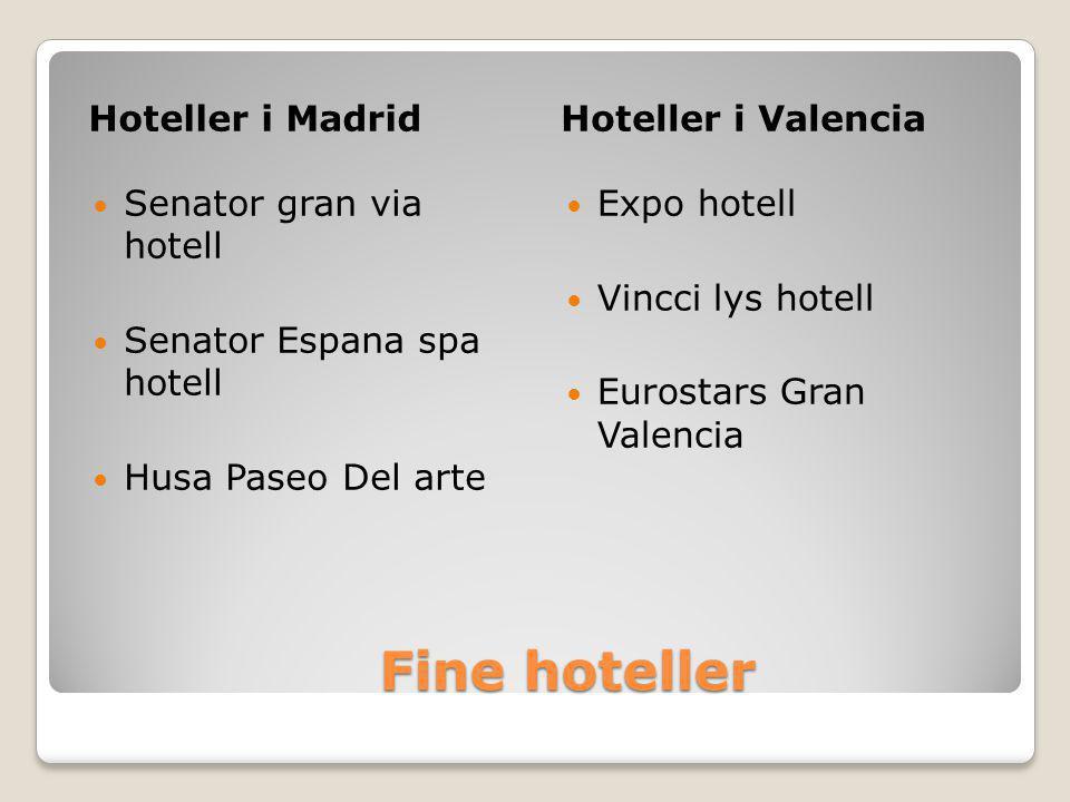 Fine hoteller Hoteller i Madrid Hoteller i Valencia