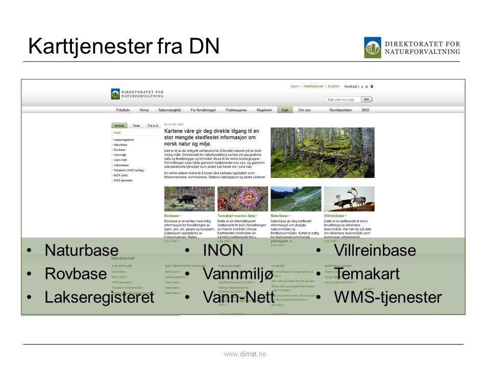 Karttjenester fra DN Naturbase Rovbase Lakseregisteret INON Vannmiljø