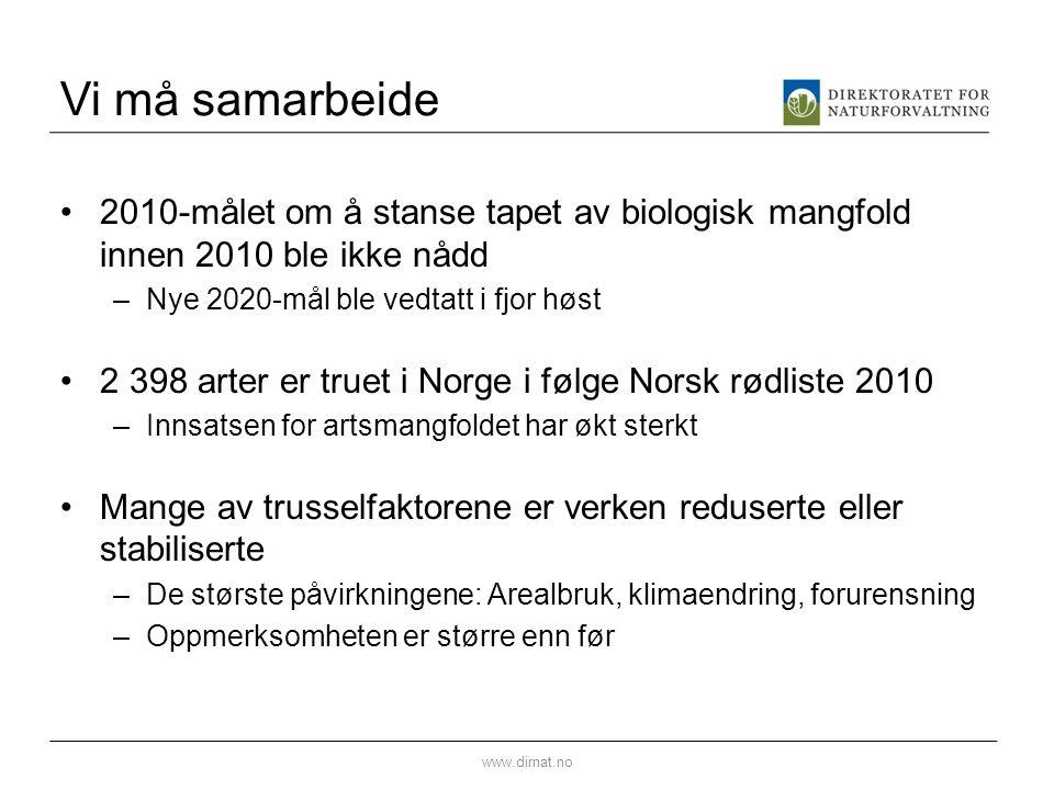 Vi må samarbeide 2010-målet om å stanse tapet av biologisk mangfold innen 2010 ble ikke nådd. Nye 2020-mål ble vedtatt i fjor høst.