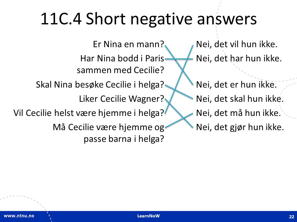 11C.4 Short negative answers