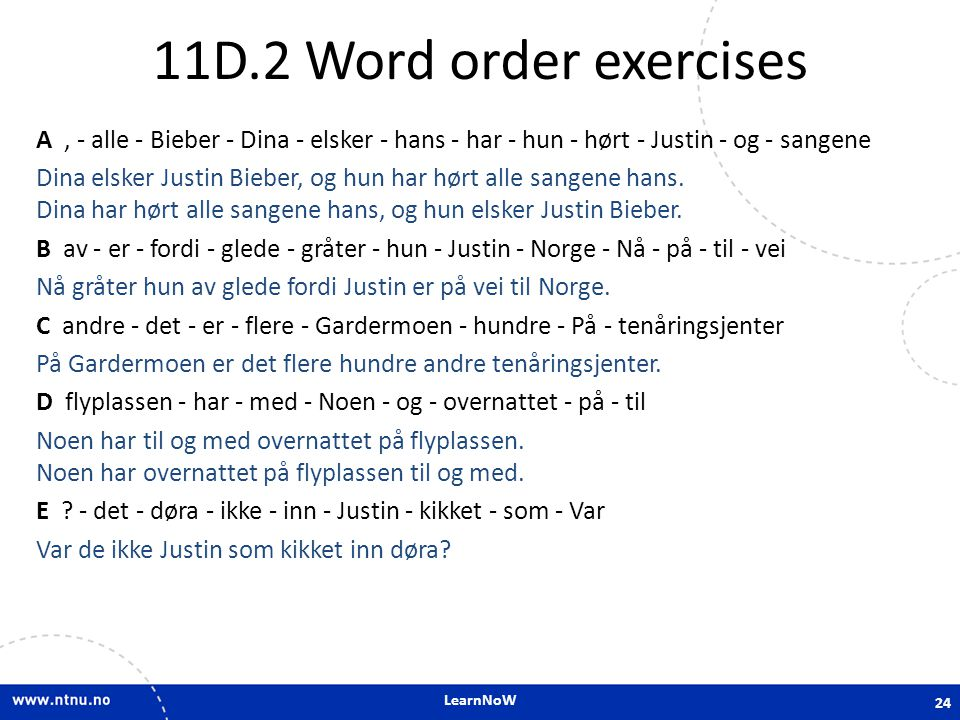 11D.2 Word order exercises