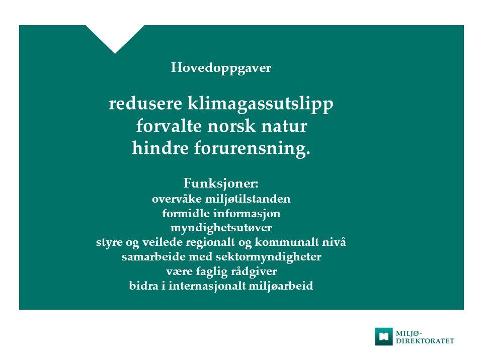 Hovedoppgaver redusere klimagassutslipp forvalte norsk natur hindre forurensning.