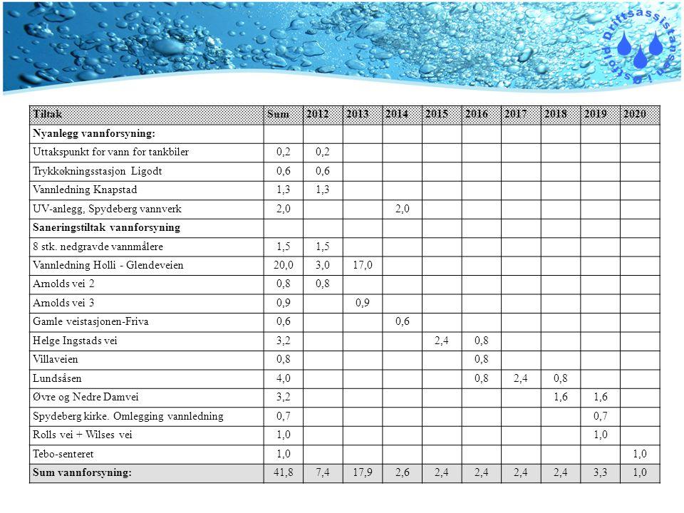 Tiltak Sum. 2012. 2013. 2014. 2015. 2016. 2017. 2018. 2019. 2020. Nyanlegg vannforsyning: