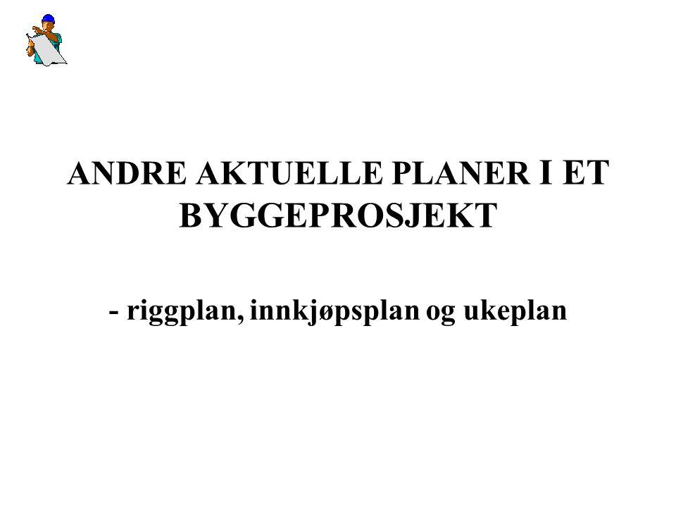 ANDRE AKTUELLE PLANER I ET BYGGEPROSJEKT