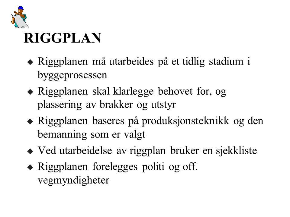 RIGGPLAN Riggplanen må utarbeides på et tidlig stadium i byggeprosessen. Riggplanen skal klarlegge behovet for, og plassering av brakker og utstyr.