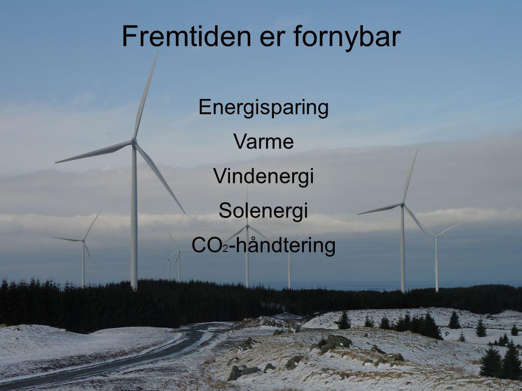 Fremtiden er fornybar Energisparing Varme Vindenergi Solenergi