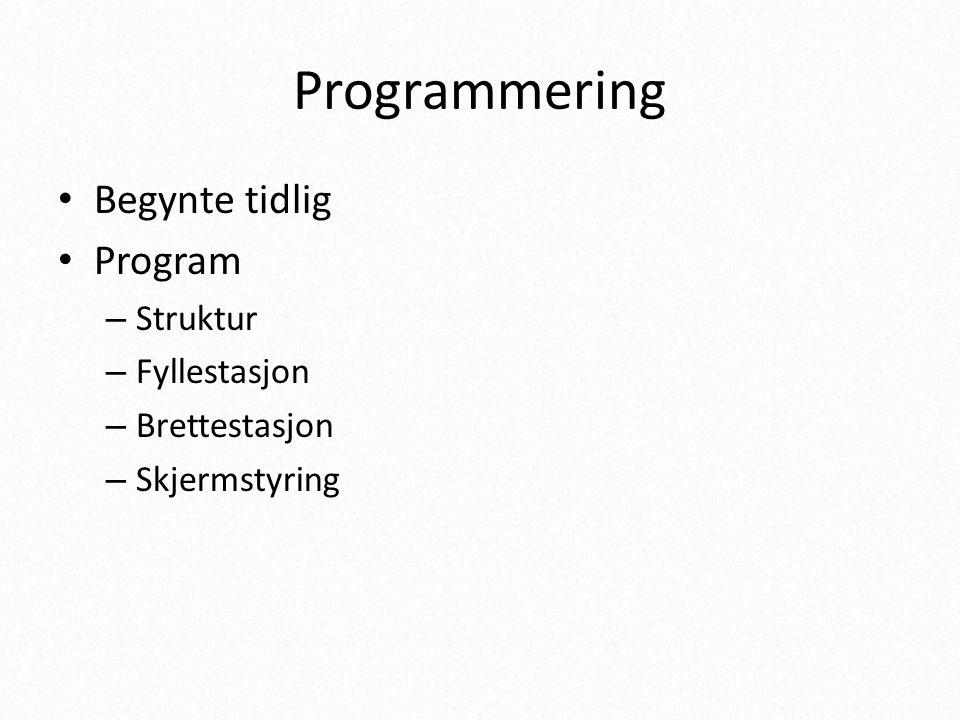 Programmering Begynte tidlig Program Struktur Fyllestasjon