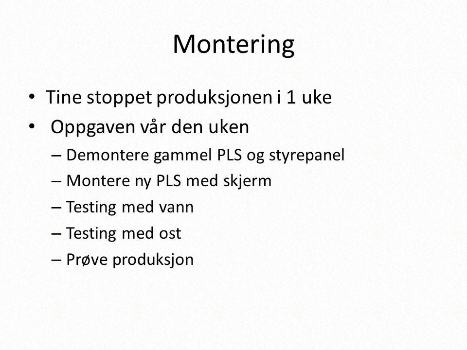 Montering Tine stoppet produksjonen i 1 uke Oppgaven vår den uken